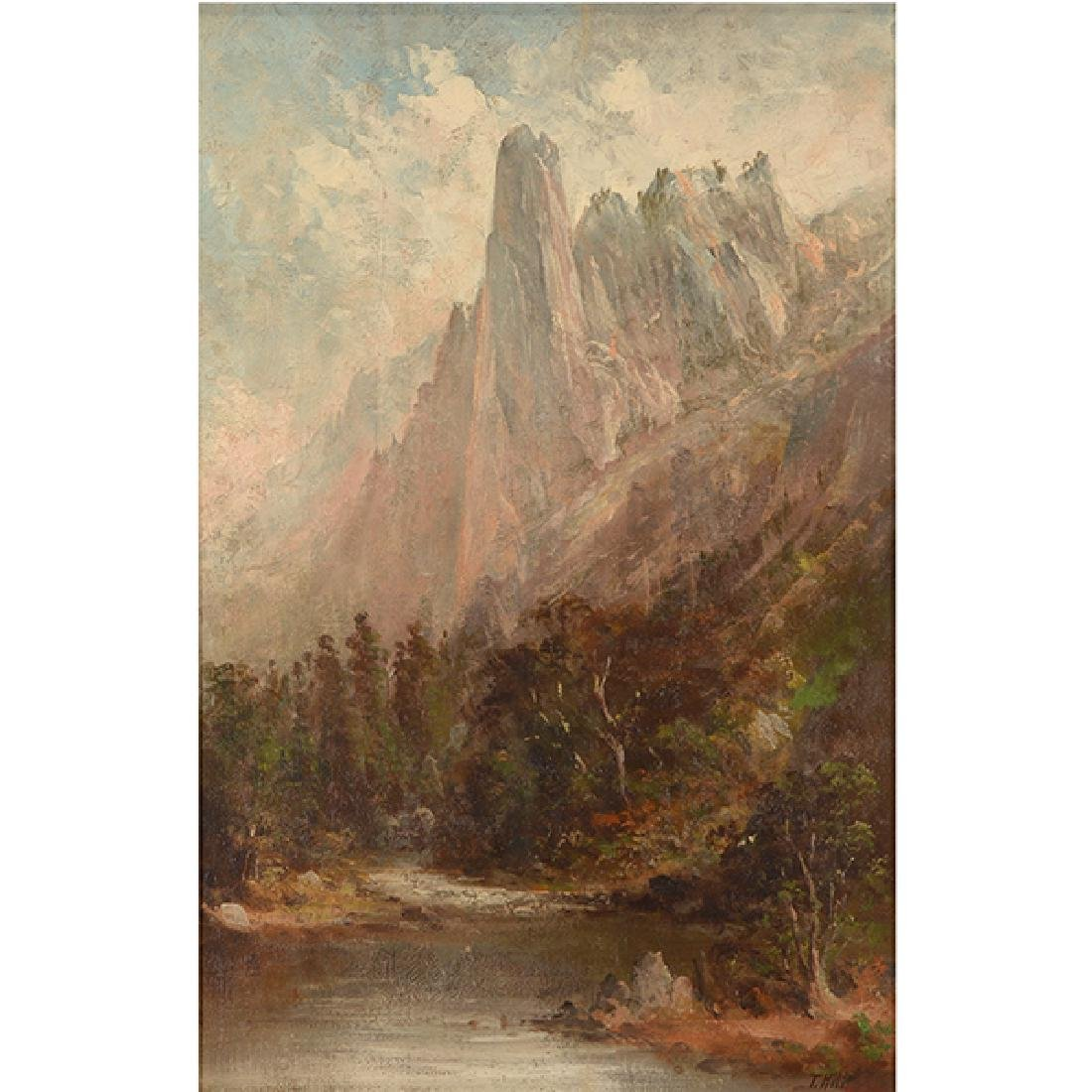 """After Thomas Hill """"Yosemite Landscape"""" oil on canvas"""