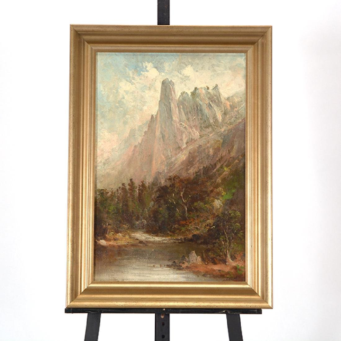 """After Thomas Hill """"Yosemite Landscape"""" oil on canvas - 6"""