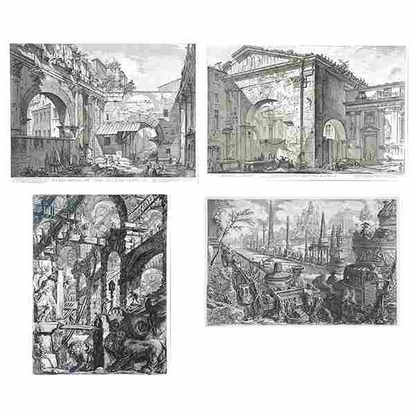 "After Giovanni Piranesi Four ""Ancient Roman Ruins"""