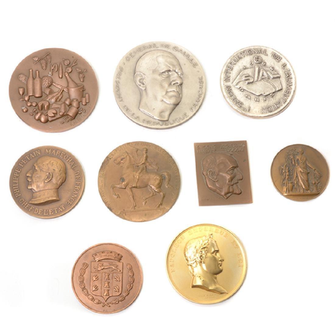Nine French Commemorative Bronze Medallions