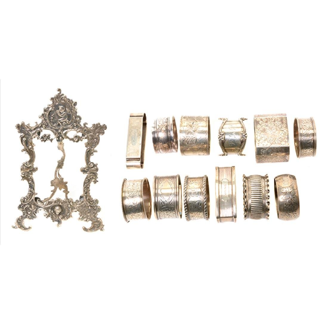 Eleven English Sterling Napkin Rings and Rococo Style