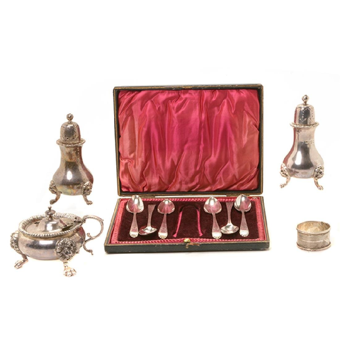 Collection of English Georgian Silver Table Articles