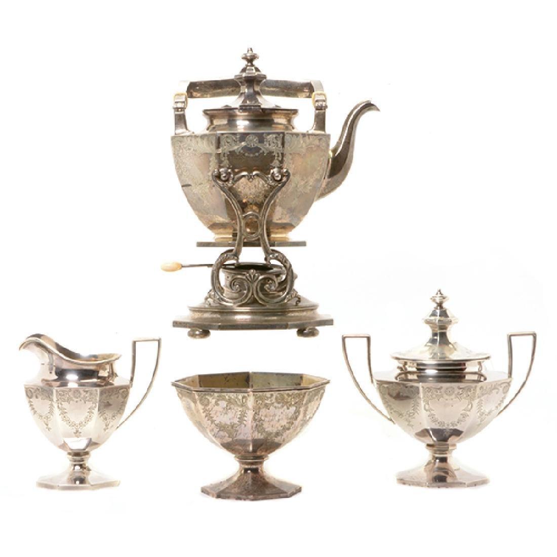 Gorham Sterling Octagonal Form Etched Tea Service