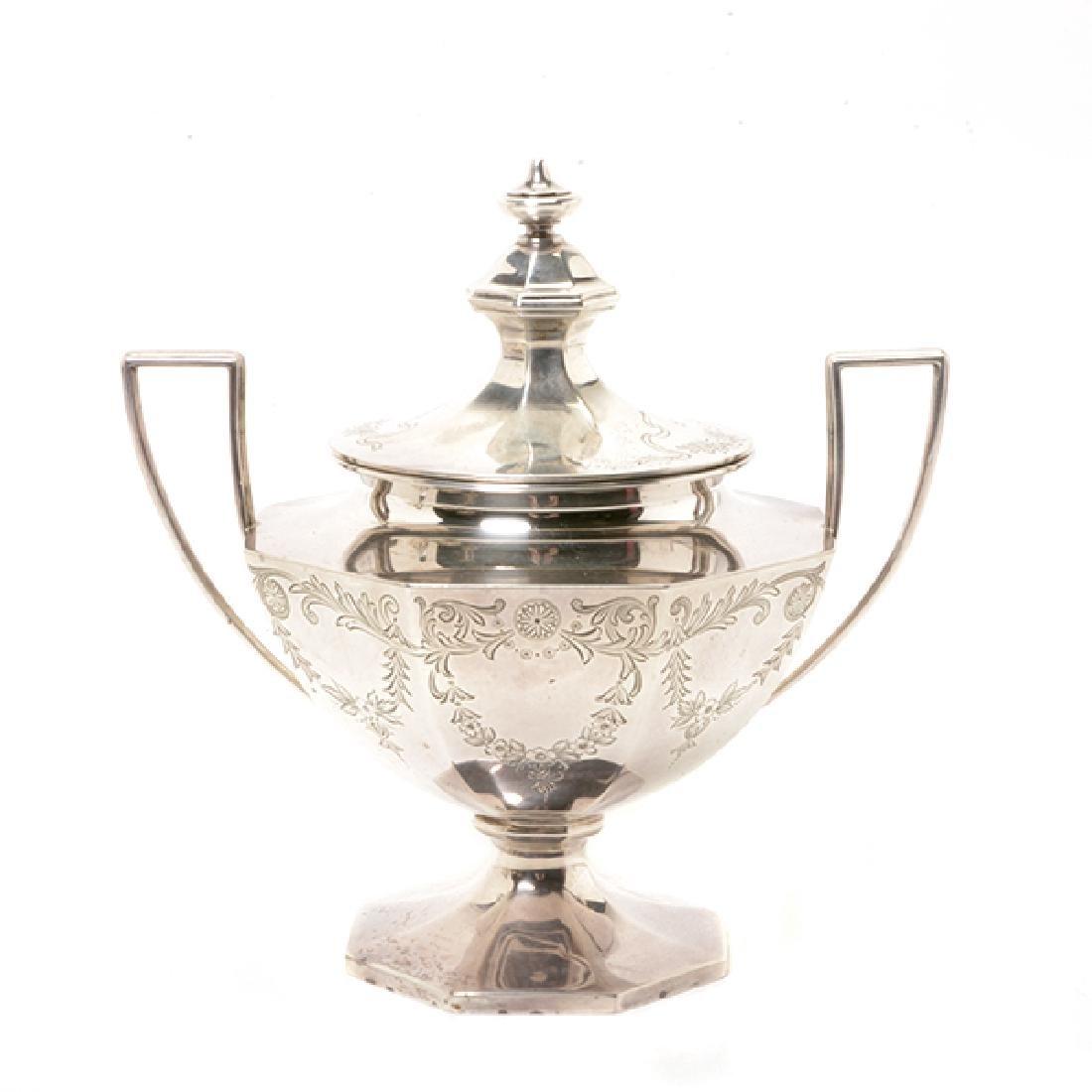 Gorham Sterling Octagonal Form Etched Tea Service - 2