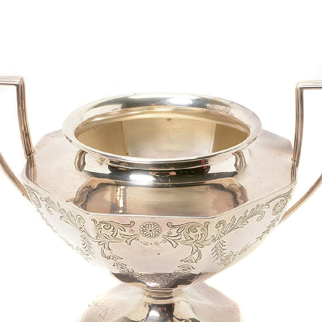 Gorham Sterling Octagonal Form Etched Tea Service - 4