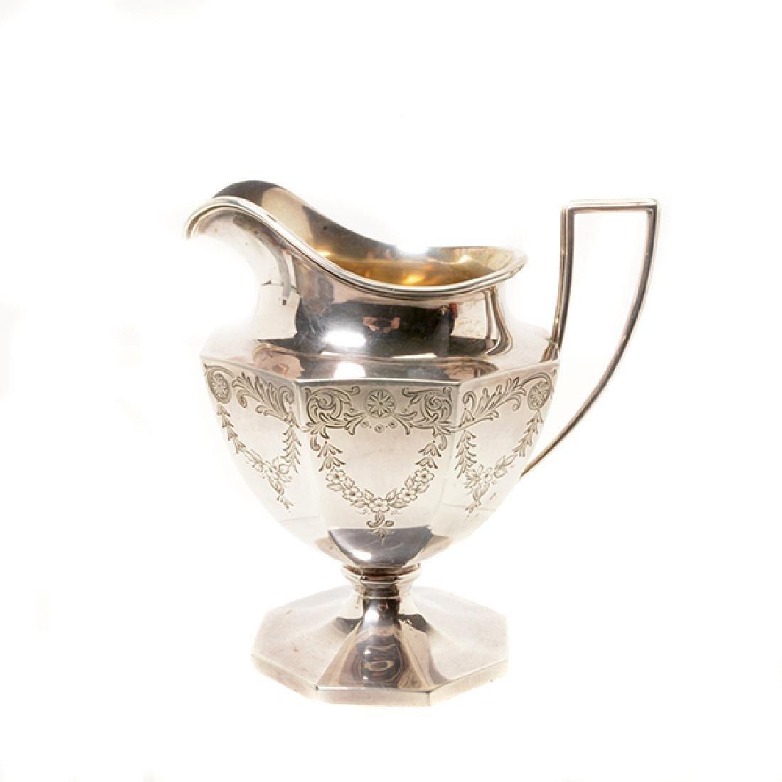 Gorham Sterling Octagonal Form Etched Tea Service - 7