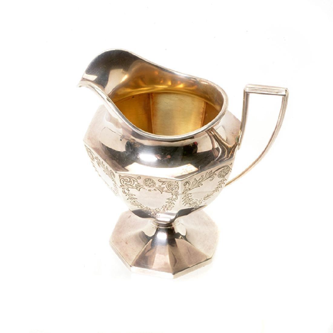 Gorham Sterling Octagonal Form Etched Tea Service - 9