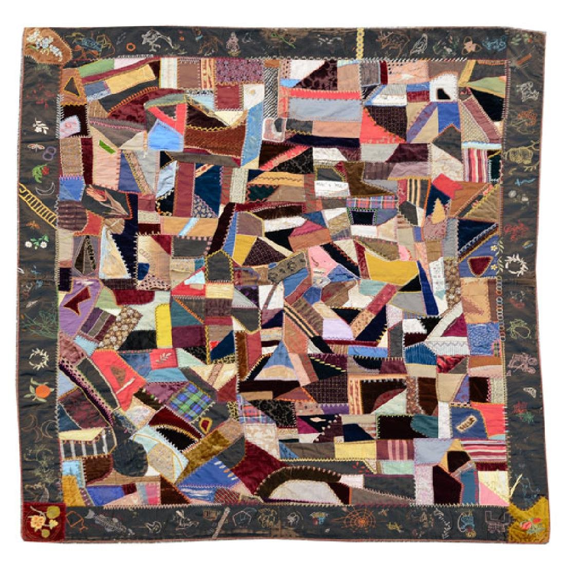 American Crazy Quilt with Embroidered Figural Border