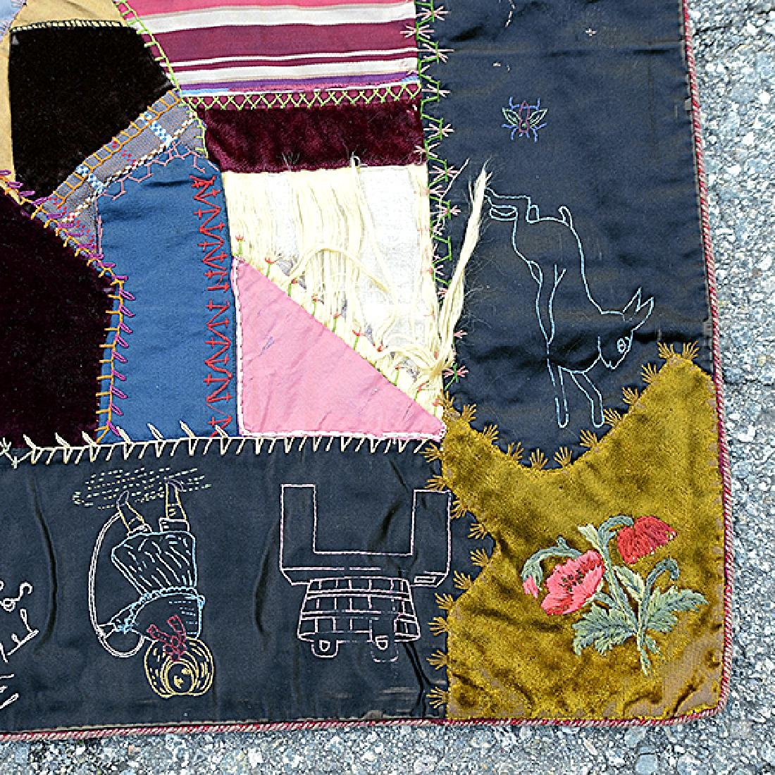 American Crazy Quilt with Embroidered Figural Border - 2