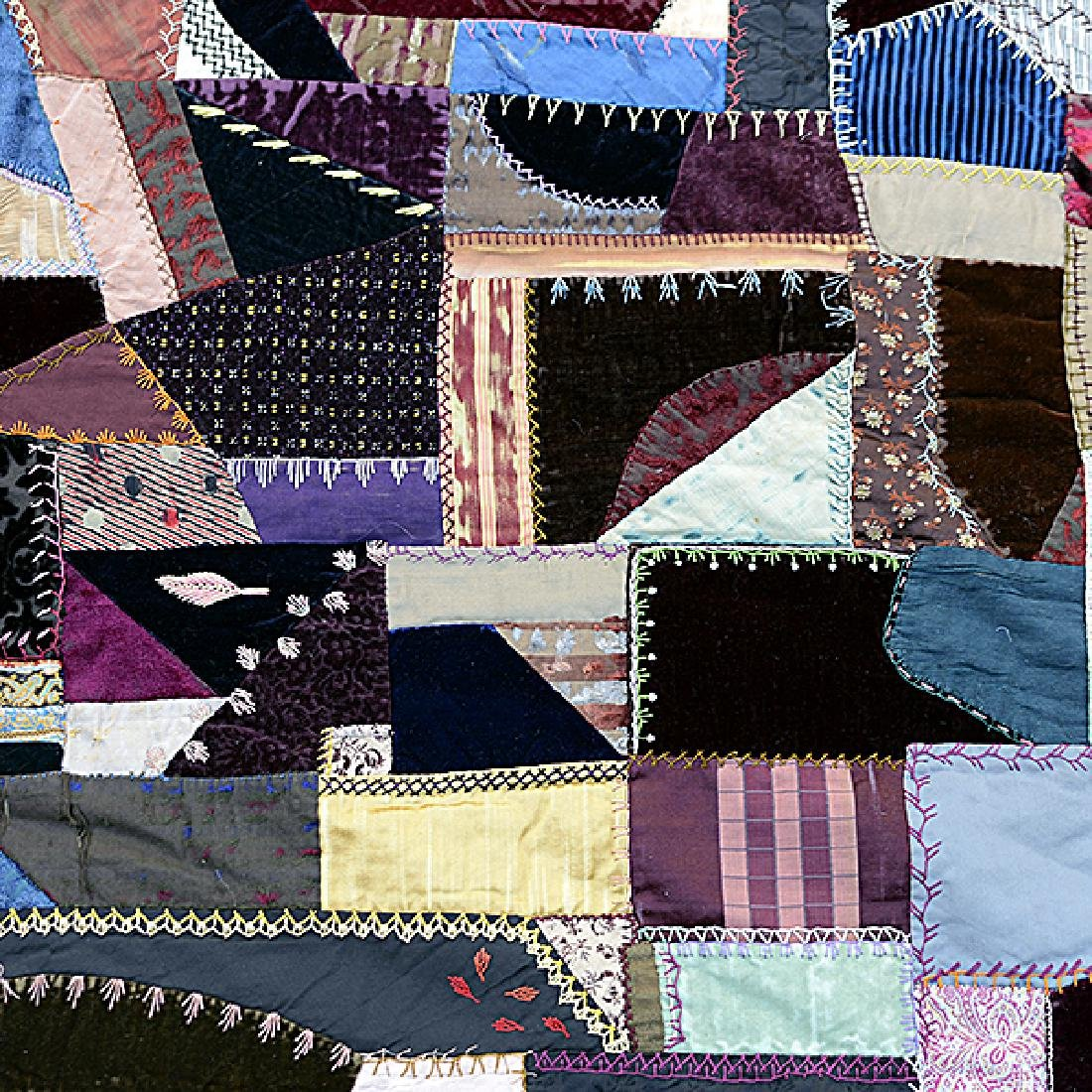 American Crazy Quilt with Embroidered Figural Border - 3