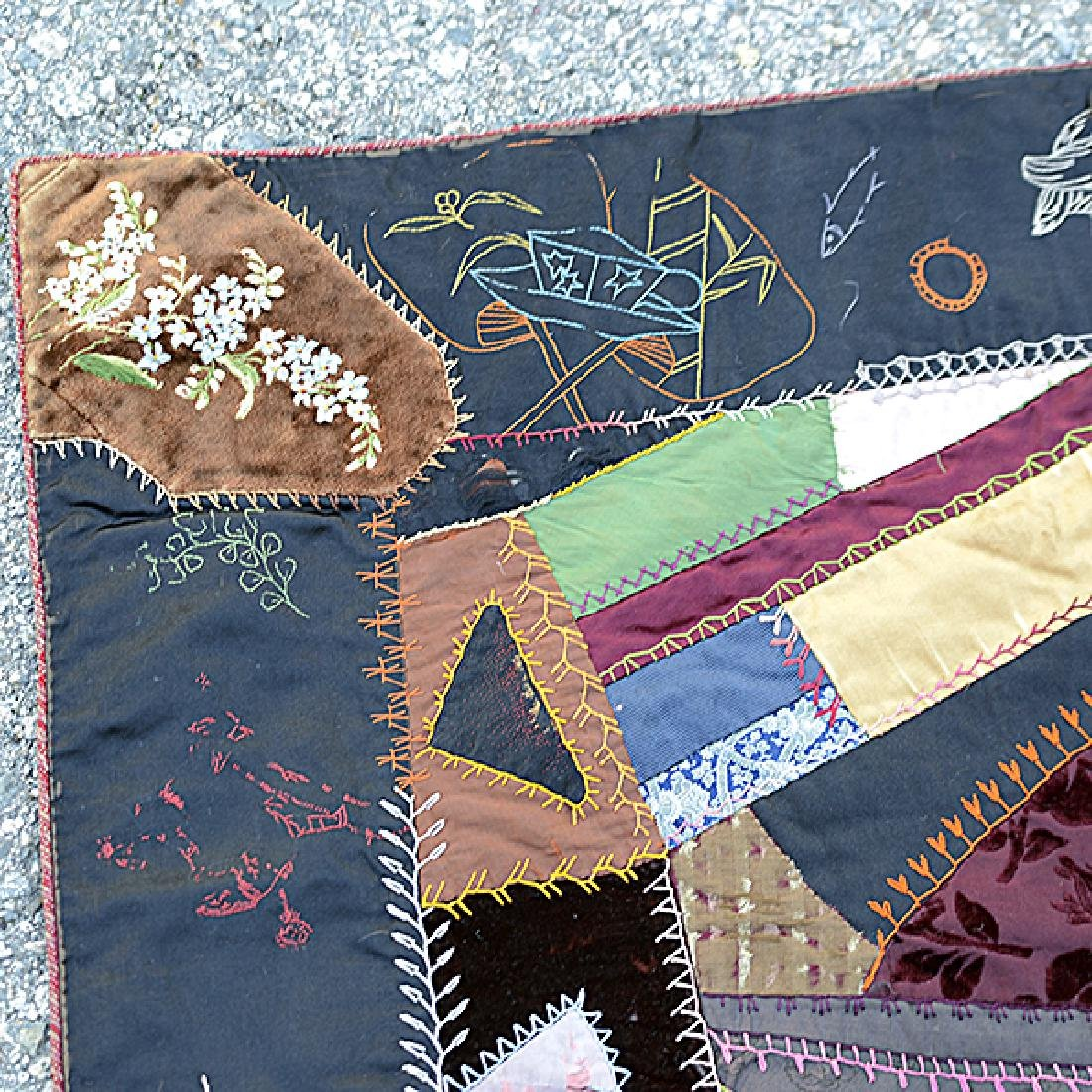 American Crazy Quilt with Embroidered Figural Border - 4