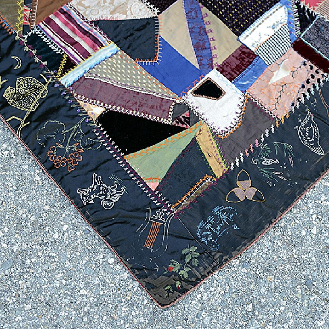 American Crazy Quilt with Embroidered Figural Border - 5