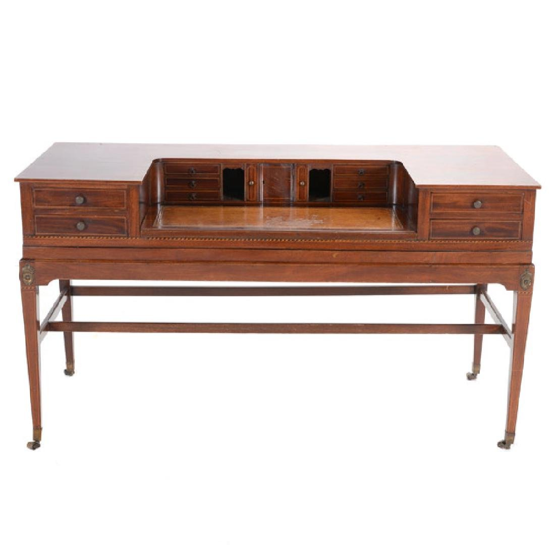 George III Style Inlaid Mahogany Desk