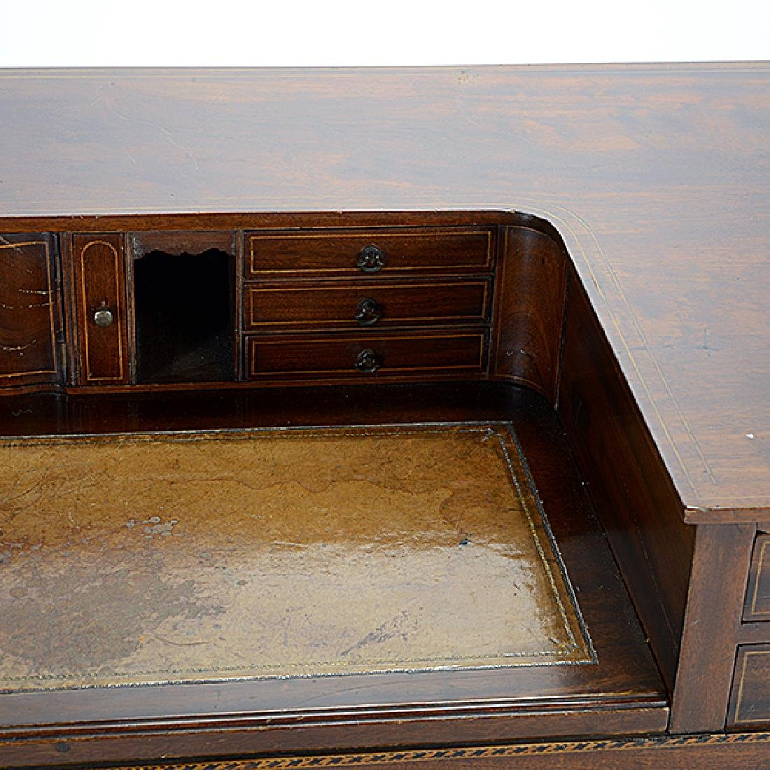 George III Style Inlaid Mahogany Desk - 2