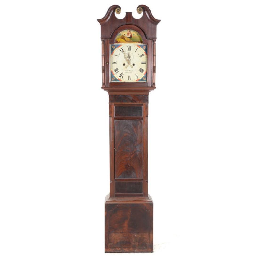 Irish Mahogany Tall Case Clock with Hand Painted Tin