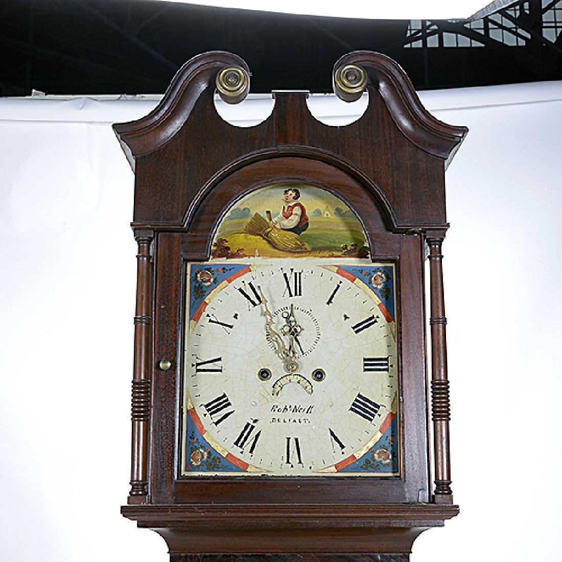 Irish Mahogany Tall Case Clock with Hand Painted Tin - 2