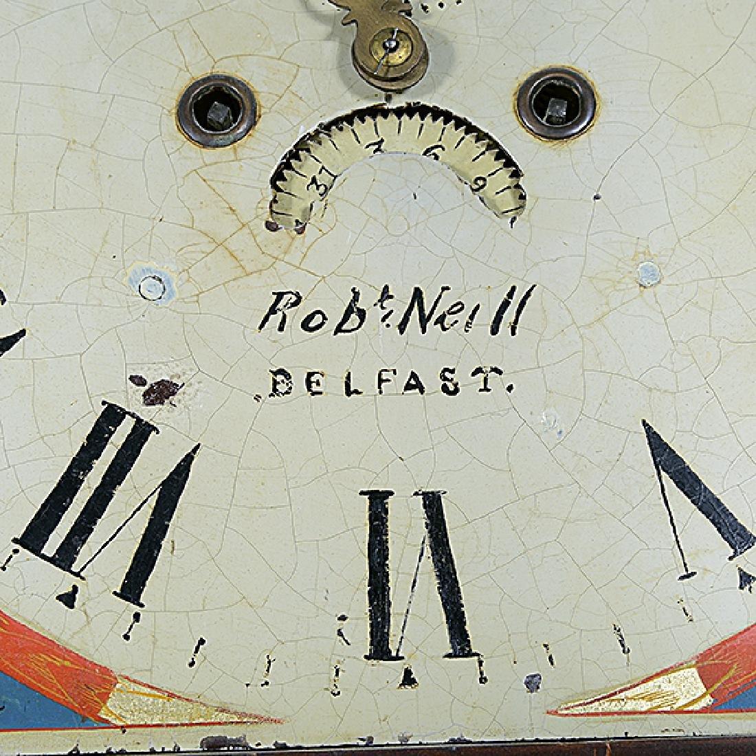 Irish Mahogany Tall Case Clock with Hand Painted Tin - 3
