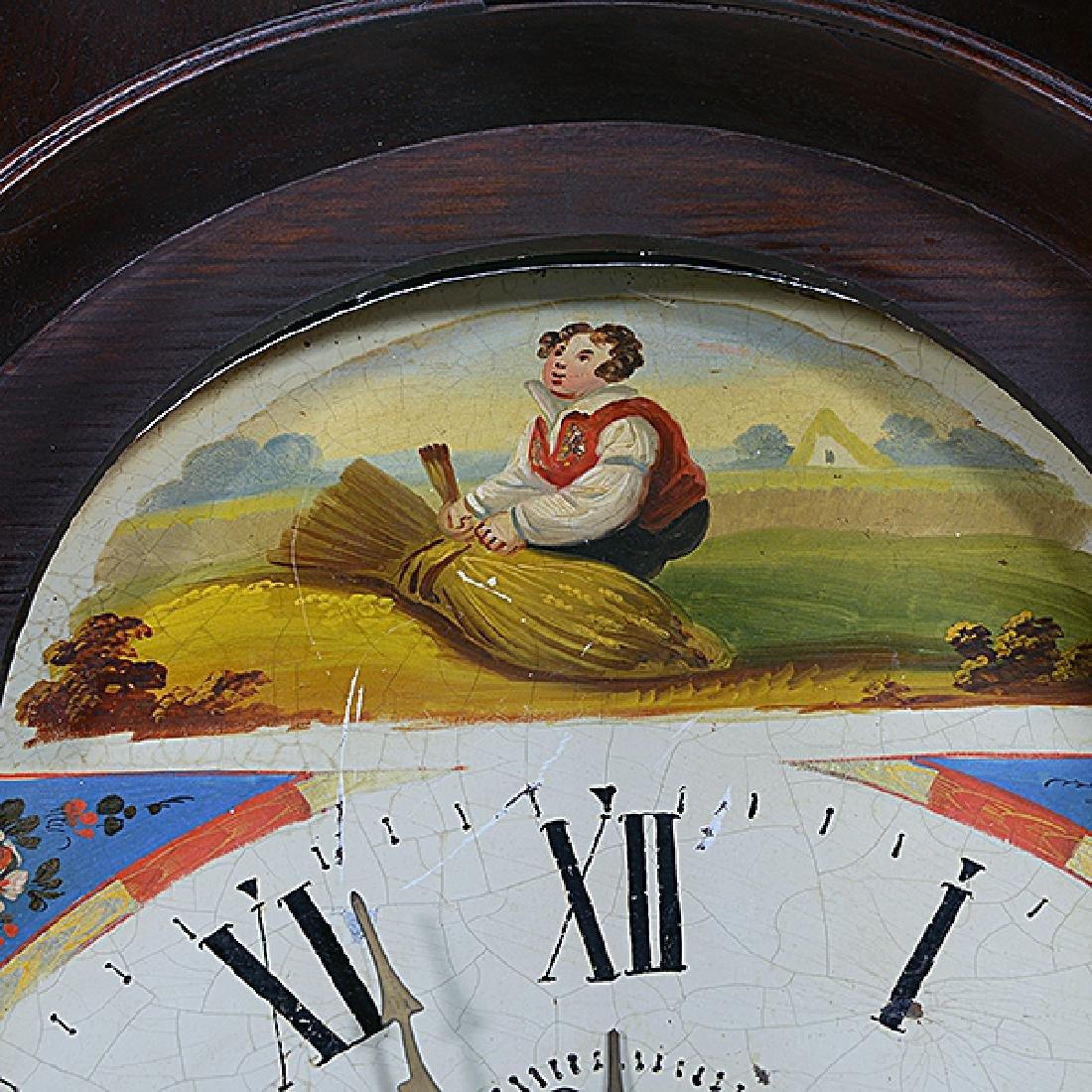 Irish Mahogany Tall Case Clock with Hand Painted Tin - 4