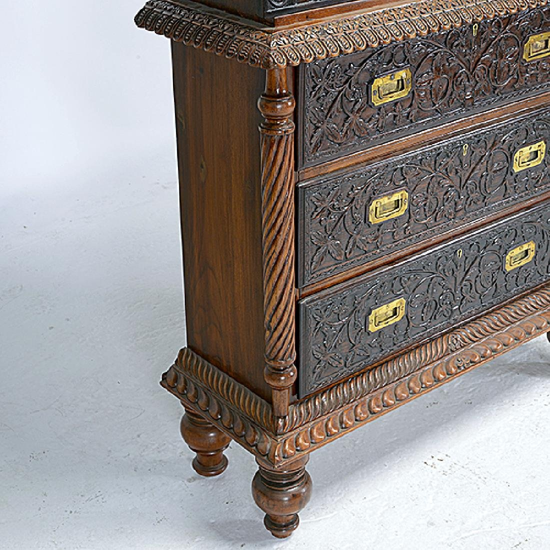 Dutch Colonial Bookcase on Campaign Style Chest - 2