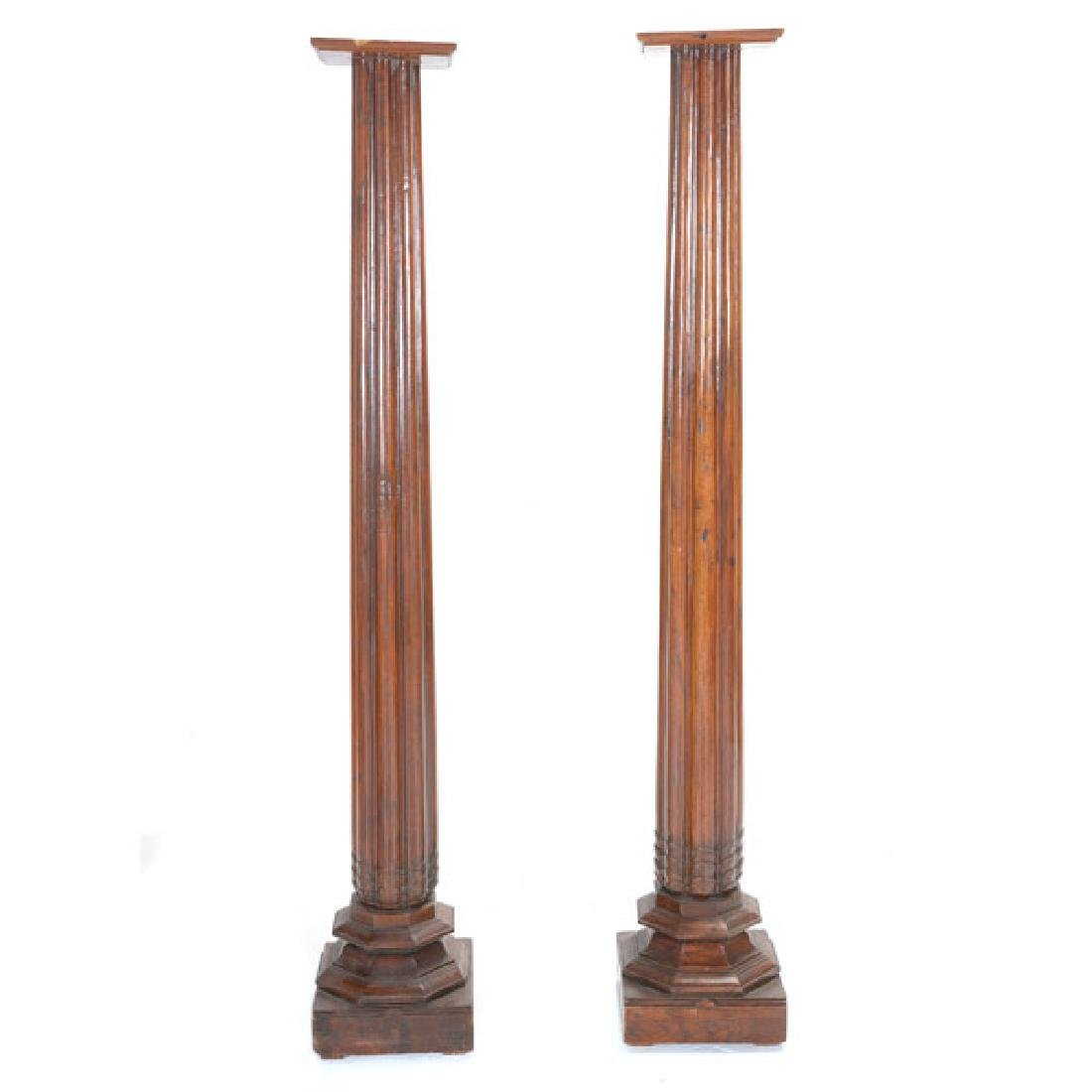 Pair of Anglo Indian Teak Fluted Columns