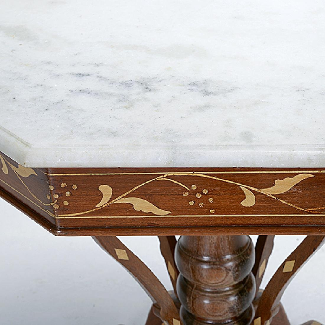 Anglo Indian Teak Octagonal Inlaid Table with White - 2