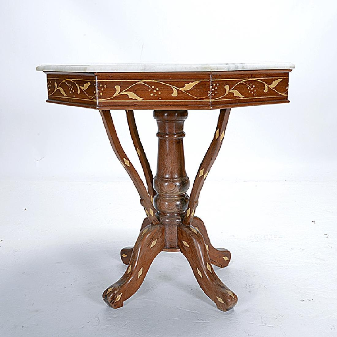 Anglo Indian Teak Octagonal Inlaid Table with White - 3