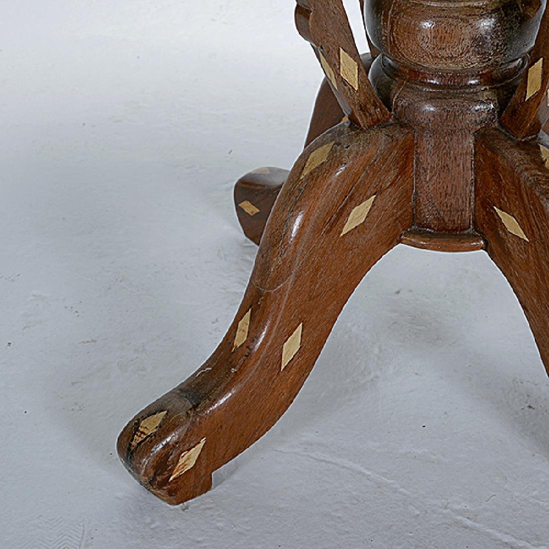 Anglo Indian Teak Octagonal Inlaid Table with White - 4