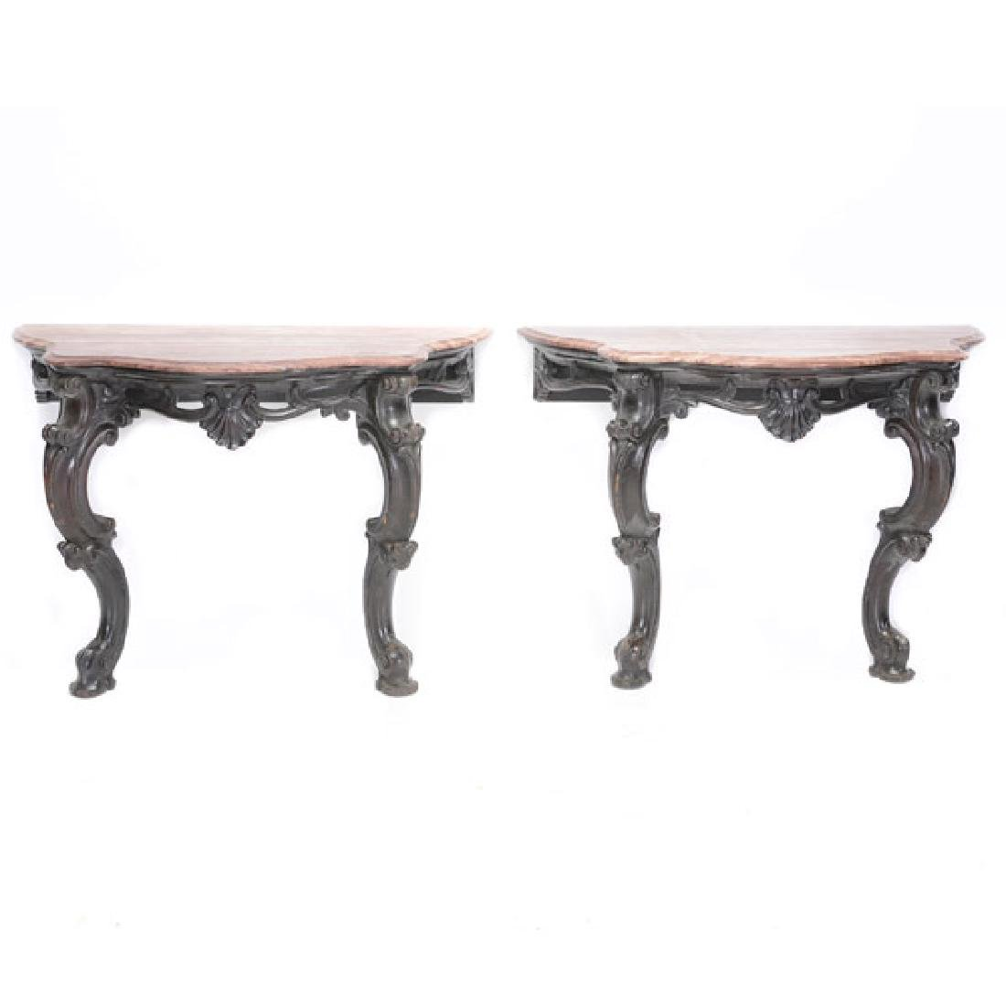 Pair of Anglo Indian Louis XV Style Mahogany Console