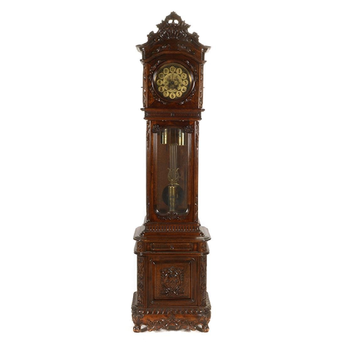 Continental Rococo Style Walnut Tall Case Clock