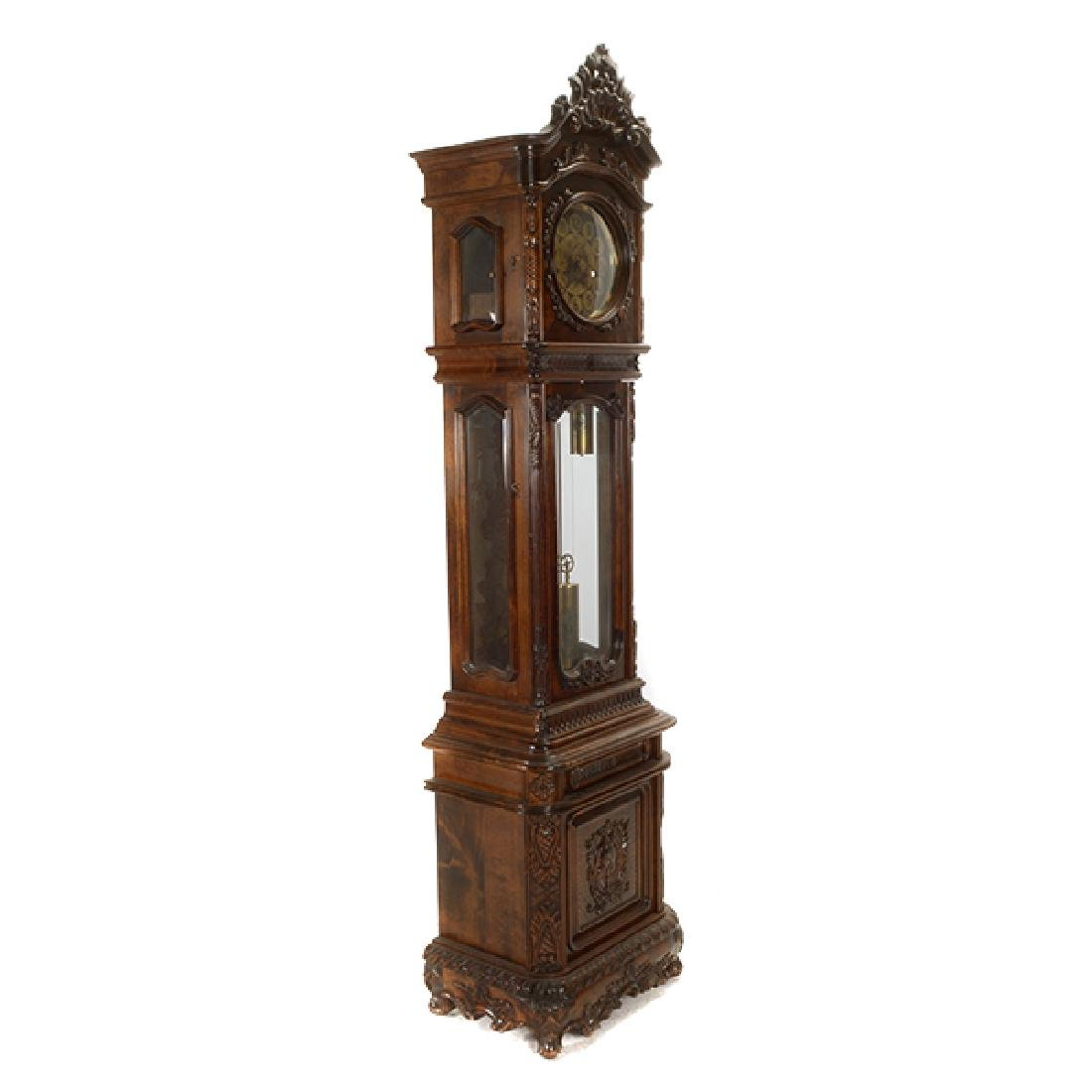 Continental Rococo Style Walnut Tall Case Clock - 3