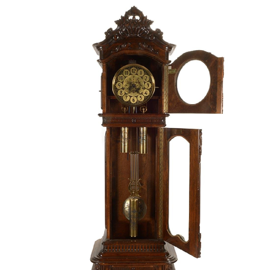 Continental Rococo Style Walnut Tall Case Clock - 6