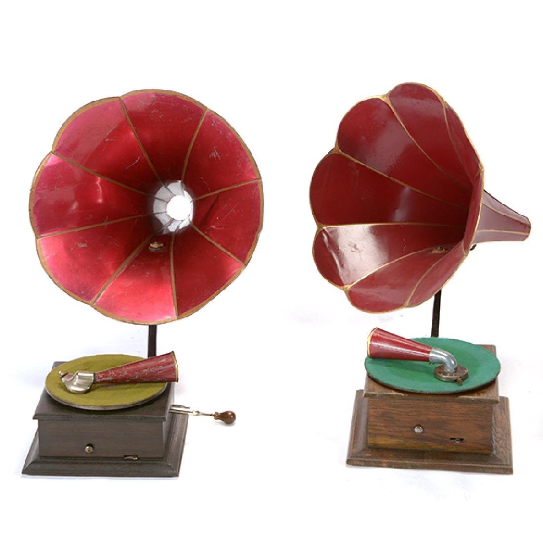 Two Busy Bee Phonographs with Horns - 2