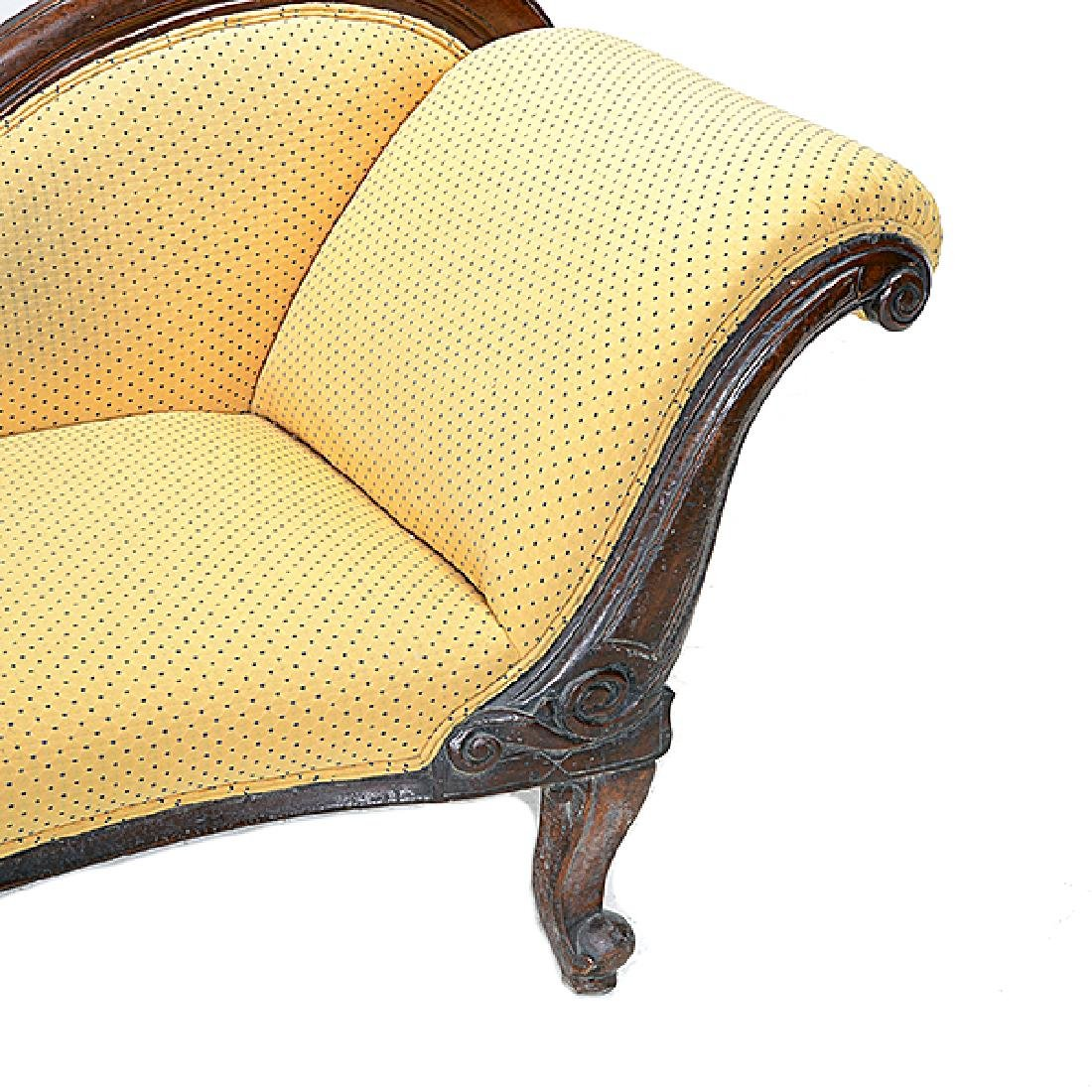 Louis Phillipe Walnut Recamier with Yellow Pattern - 2