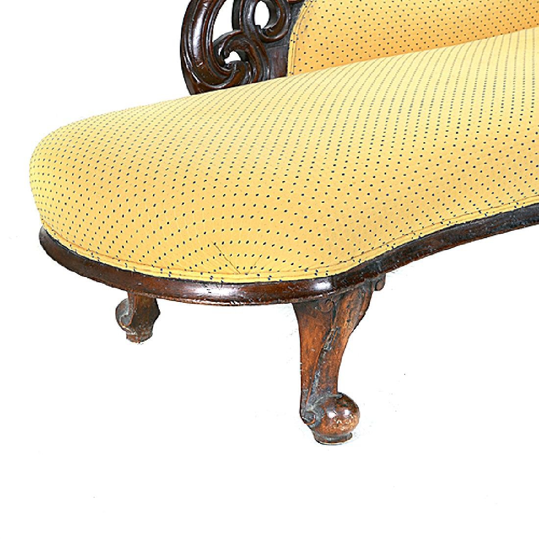 Louis Phillipe Walnut Recamier with Yellow Pattern - 4