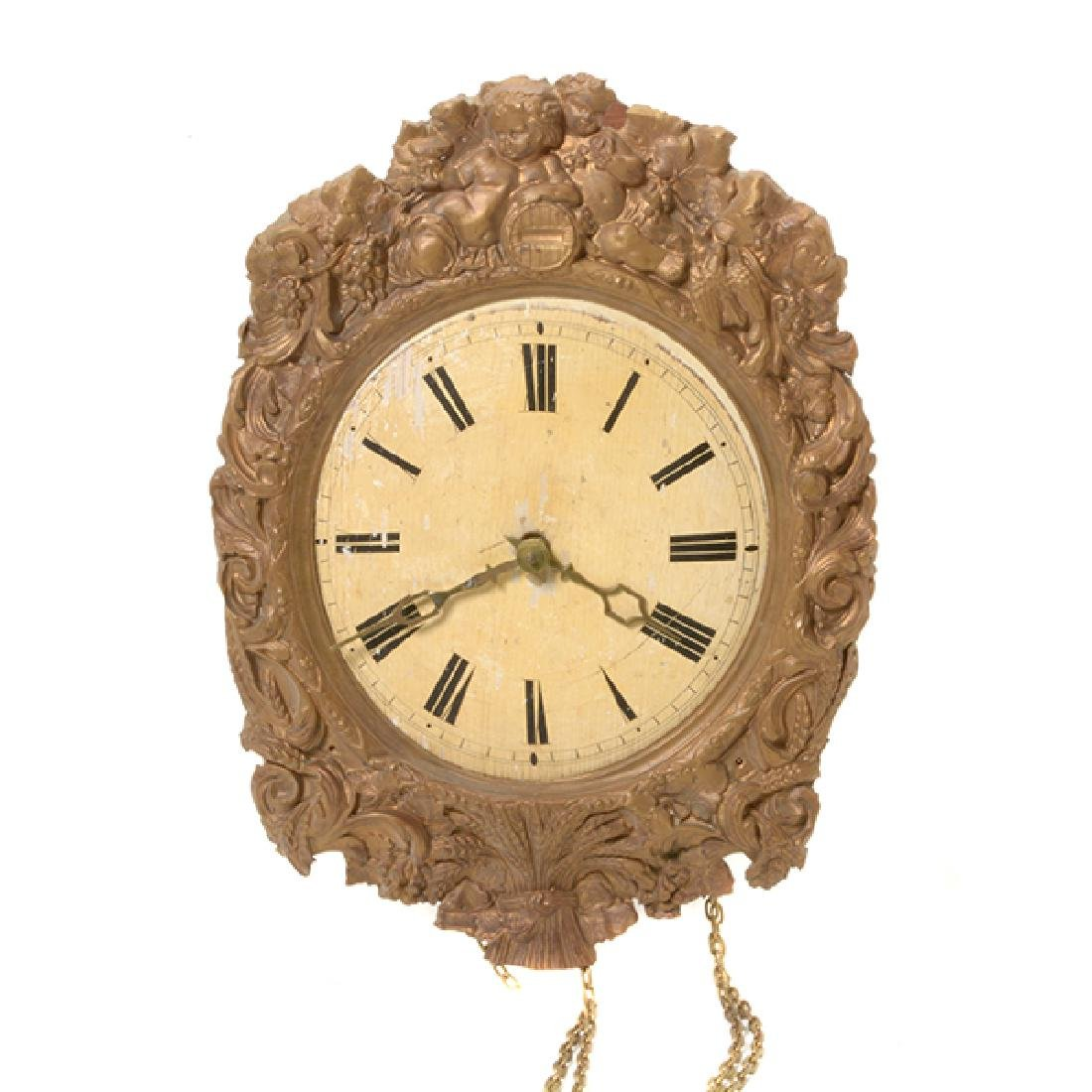 French Gilt Brass Repousse Wall Clock
