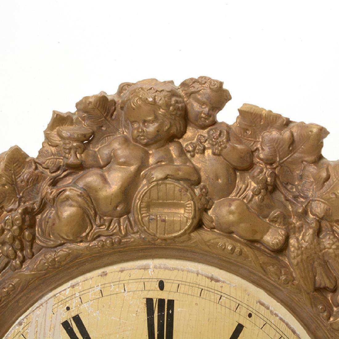 French Gilt Brass Repousse Wall Clock - 2
