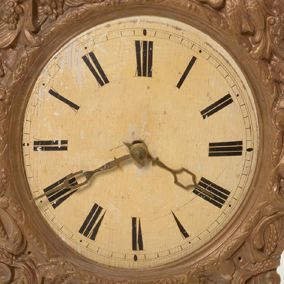 French Gilt Brass Repousse Wall Clock - 3