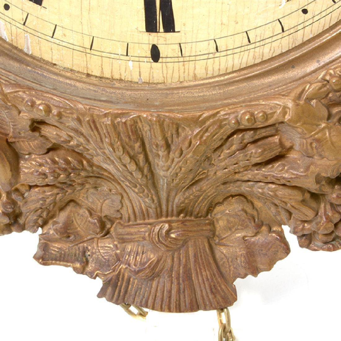 French Gilt Brass Repousse Wall Clock - 4