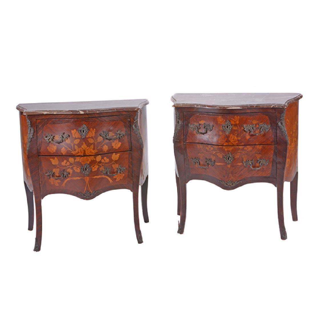 Pair of Louis XV Style Gilt Bronze Mounted Marquetry