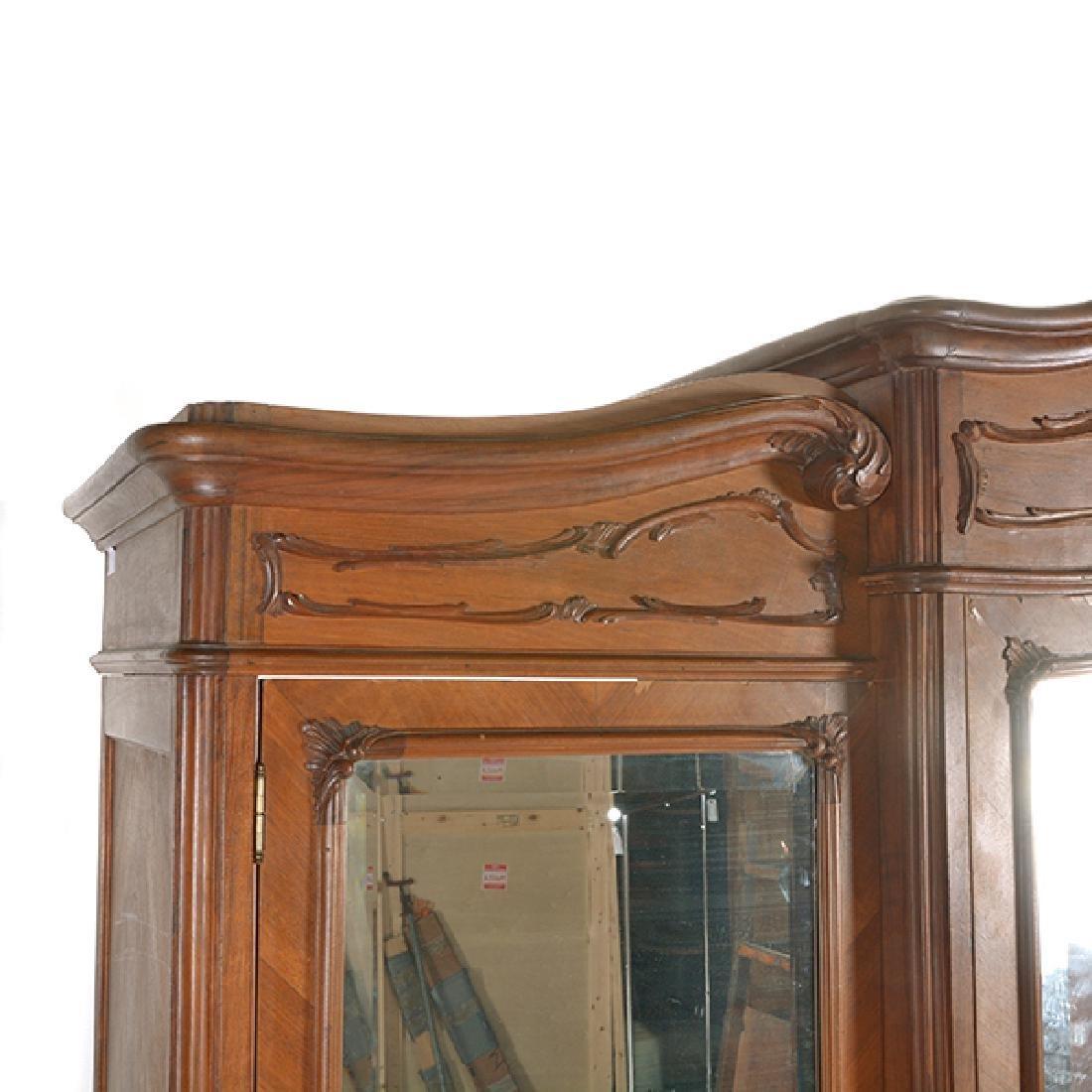 Louis XV Style Walnut Triple Mirrored Armoire - 9