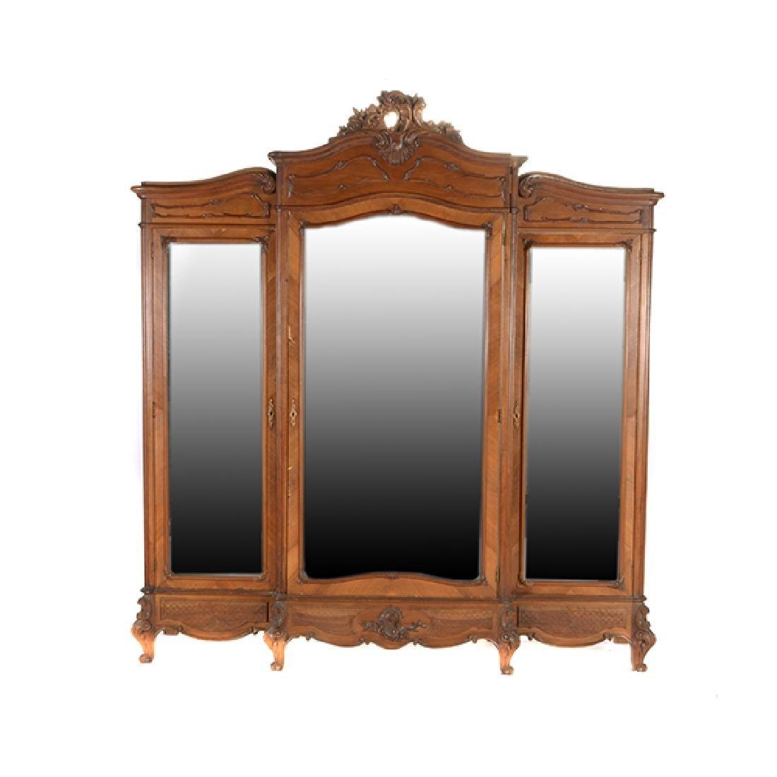 Louis XV Style Walnut Triple Mirrored Armoire