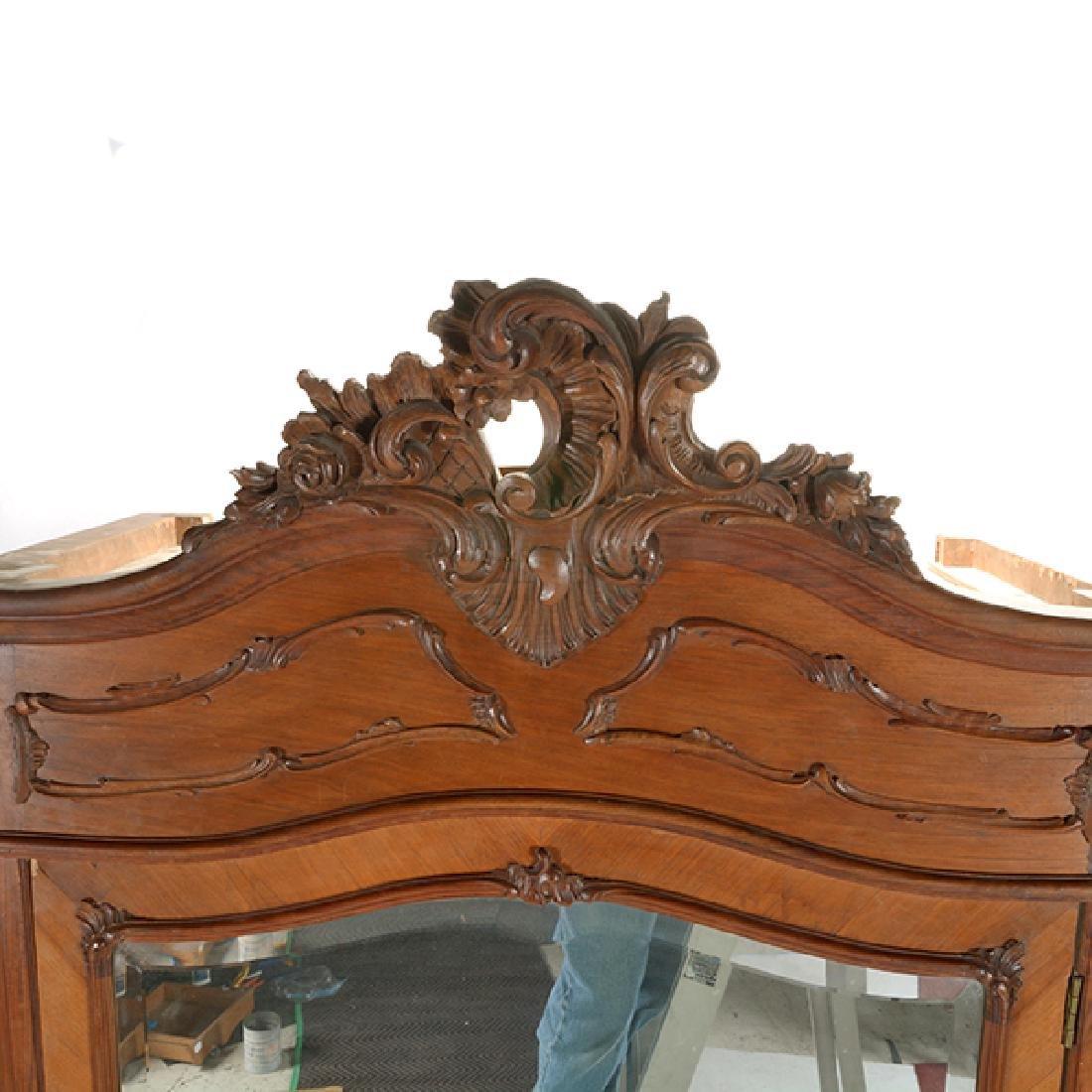 Louis XV Style Walnut Triple Mirrored Armoire - 2