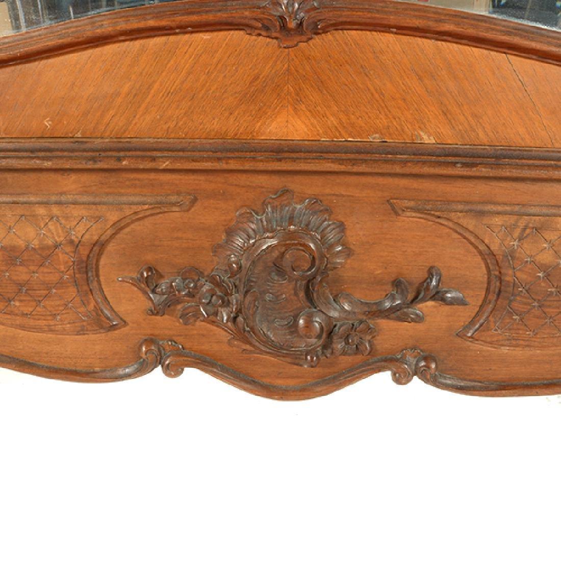 Louis XV Style Walnut Triple Mirrored Armoire - 3