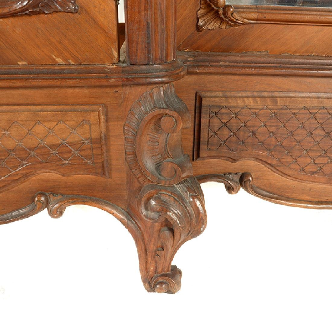 Louis XV Style Walnut Triple Mirrored Armoire - 4