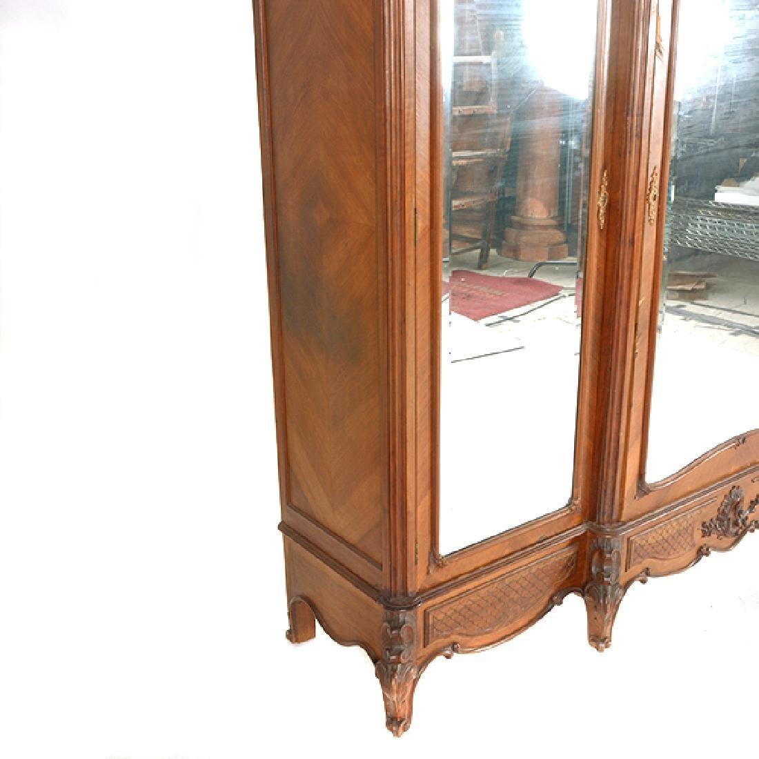 Louis XV Style Walnut Triple Mirrored Armoire - 5