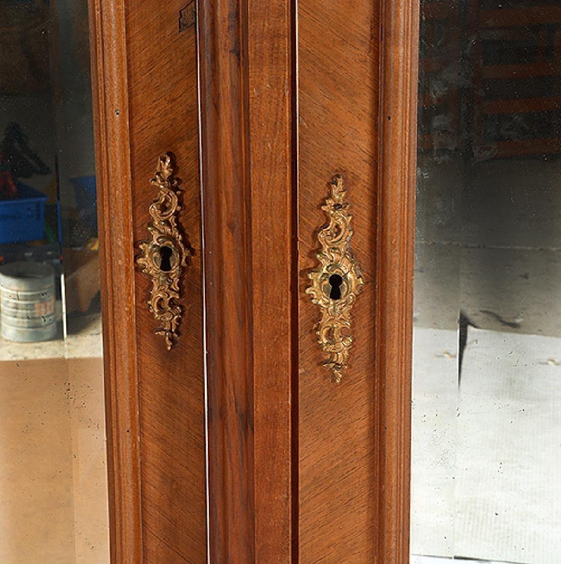 Louis XV Style Walnut Triple Mirrored Armoire - 6