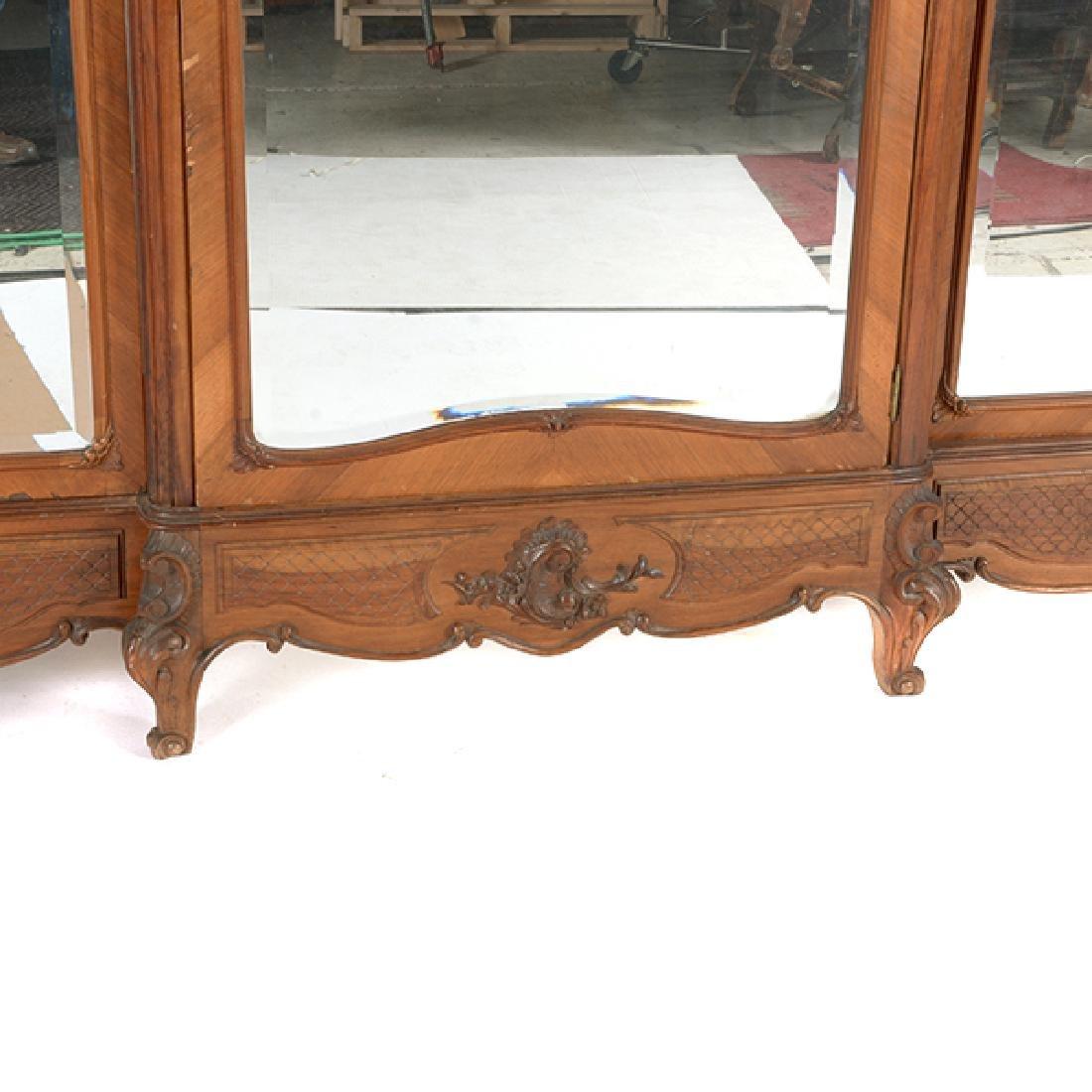 Louis XV Style Walnut Triple Mirrored Armoire - 8