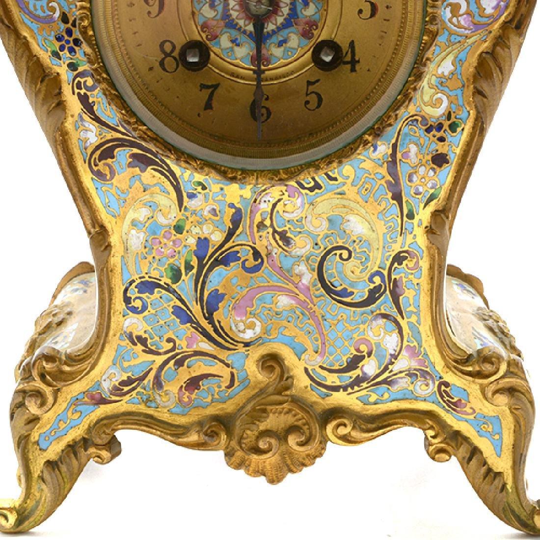 Louis XV Gilt Bronze Champleve Enamel Mantel Clock - 10