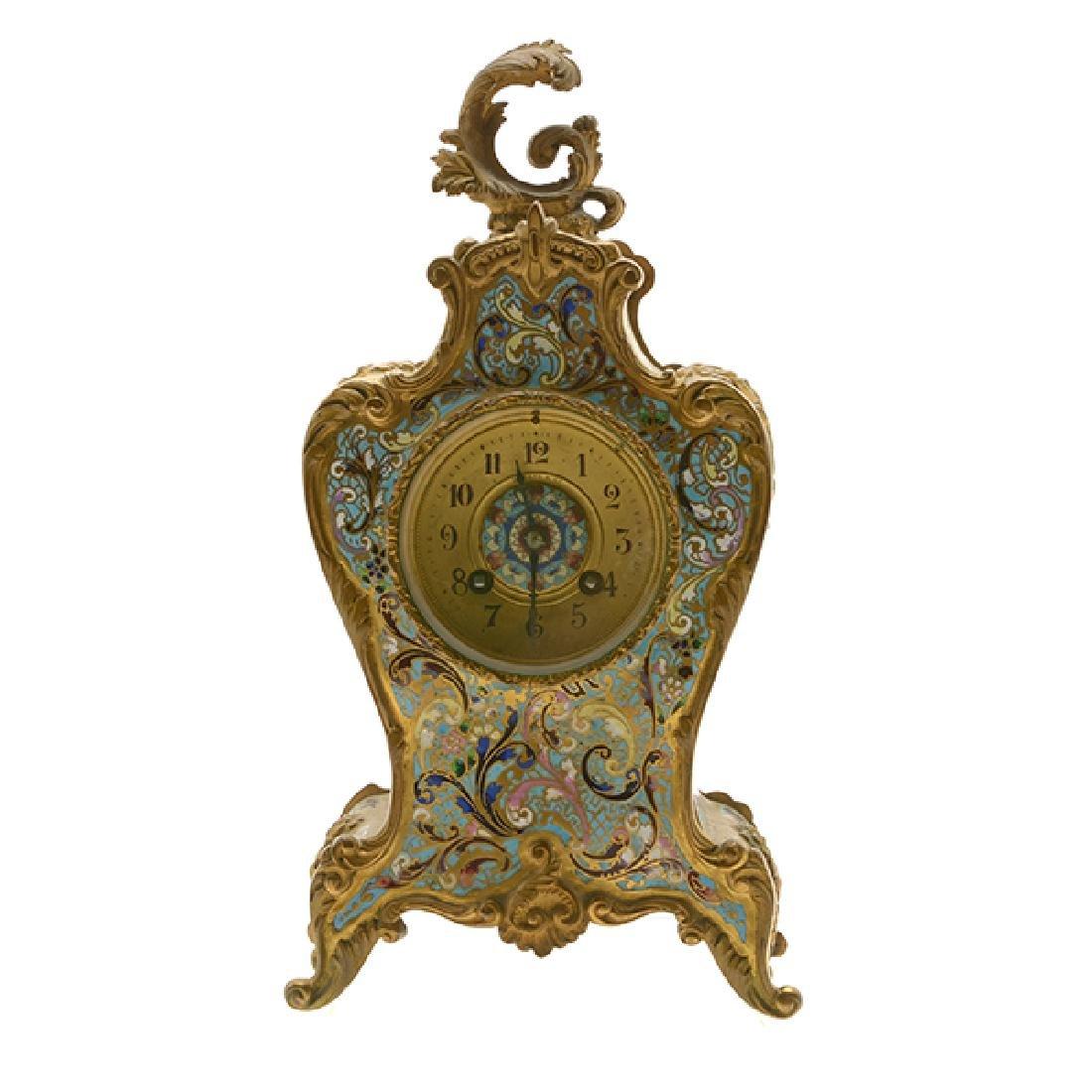 Louis XV Gilt Bronze Champleve Enamel Mantel Clock