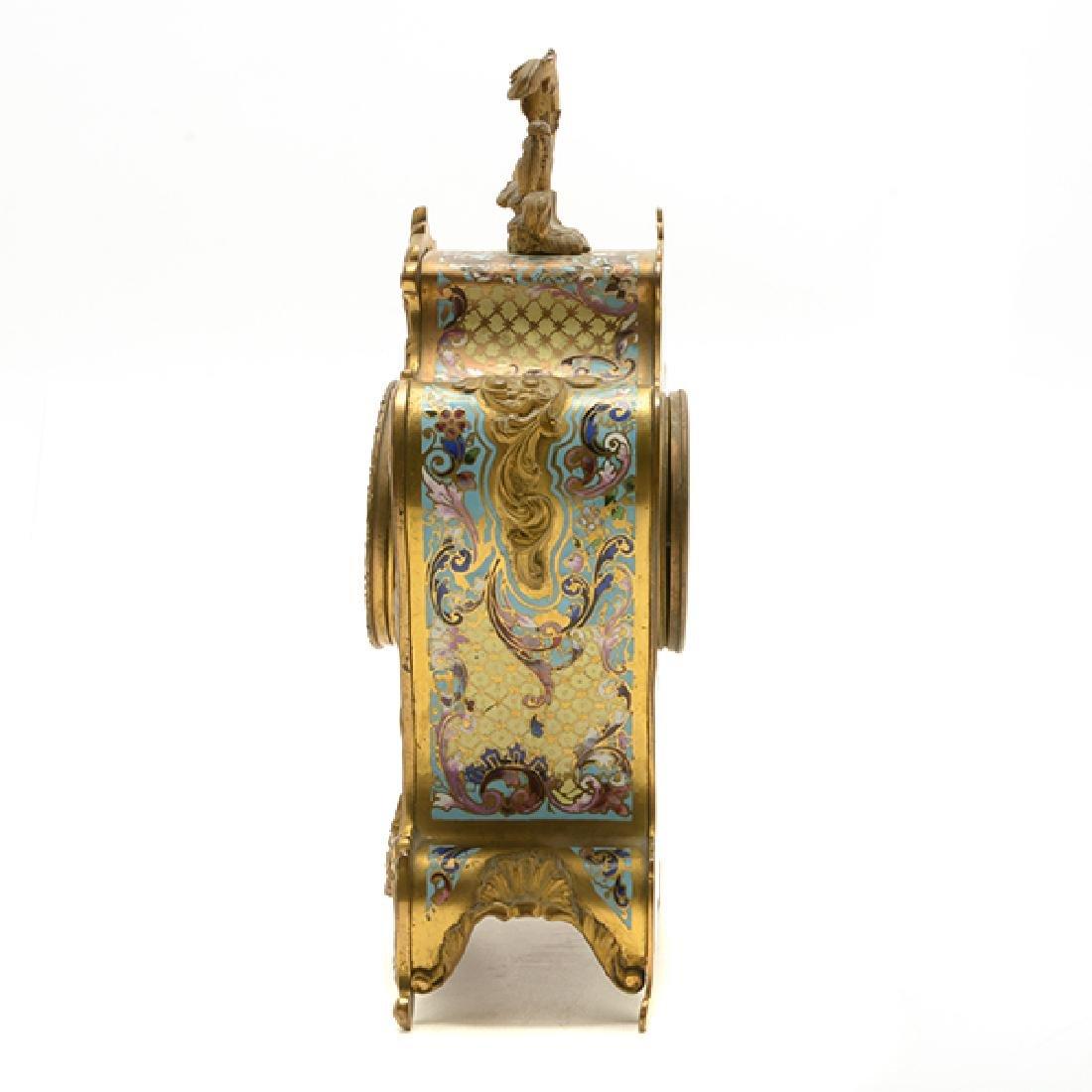 Louis XV Gilt Bronze Champleve Enamel Mantel Clock - 2